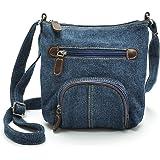 Jeans Umhängetasche Schultertasche Crossbody Bag Handtasche Messenger Bag für Damen im Cowboy Denim Style Hobo Fashion (Blau)