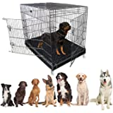 Jainsons Pet Products Heavy Duty Dog Crate Strong Metal Large Dog Cage 49 Inch (49x36.5x53 in, Black)
