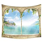 QCWN House Decor Tapestry Wall Hanging Nature Scenery Modern Landscape Fake Window Design 3D Print Wall Decor for for...