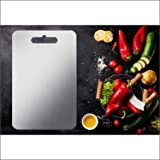 DEEJET Stainless Steel 304 Metal Food/Fruit Cutting Chopping Slicing Mincing Serving Board with Antibacterial and Anti-Rust S