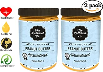 The Butternut Co. Unsweetened Peanut Butter 2kg (Crunchy) (1 Kg Pack of 2)