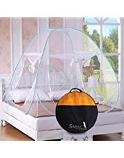 Story@Home Foldable King Size Mosquito Net for Double Bed with Soft Mesh and 2 Side Zipper Opening Door (200x200cm)