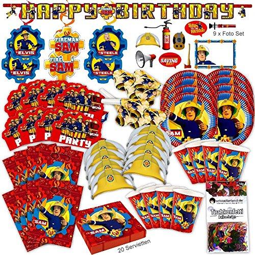 Feuerwehrmann Sam Neues Design Party Set XL 93-teilig für 8 Gäste Fireman Sam Geburtstags Kit