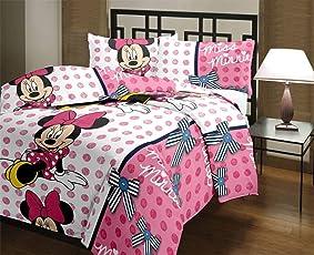 Style Seven Adorable Miss Minnie Kids Cartoon Print Reversible Double Bed AC Blanket/Dohar/ Quilt -1 Pc Set