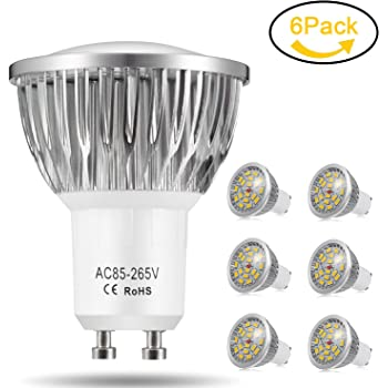 Bombillas LED GU10, 7W 18 x 5730 SMD Lámpara LED, Equivalente a 60Watt Lámpara Incandescente, Blanco Cálido 3000K, 550lm, AC85-265V, 140 ° ángulo de haz, ...