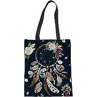 SEANATIVE Borsa in Tela di Cotone Dream Catcher Design Donne Eco Shopper Portafoglio Tote Bag In Lino Maniglia Superiore…