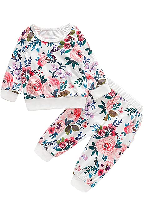 Kleinkind Baby Kinder M/ädchen Solid T Shirt Tops Floral Pants Stirnband Outfits Sets