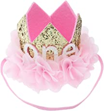 Little Baby First Birthday Hat Hairband Flower Tiara Party Crown Headband Party Hat Hairband (Chiffon Flower Pattren)