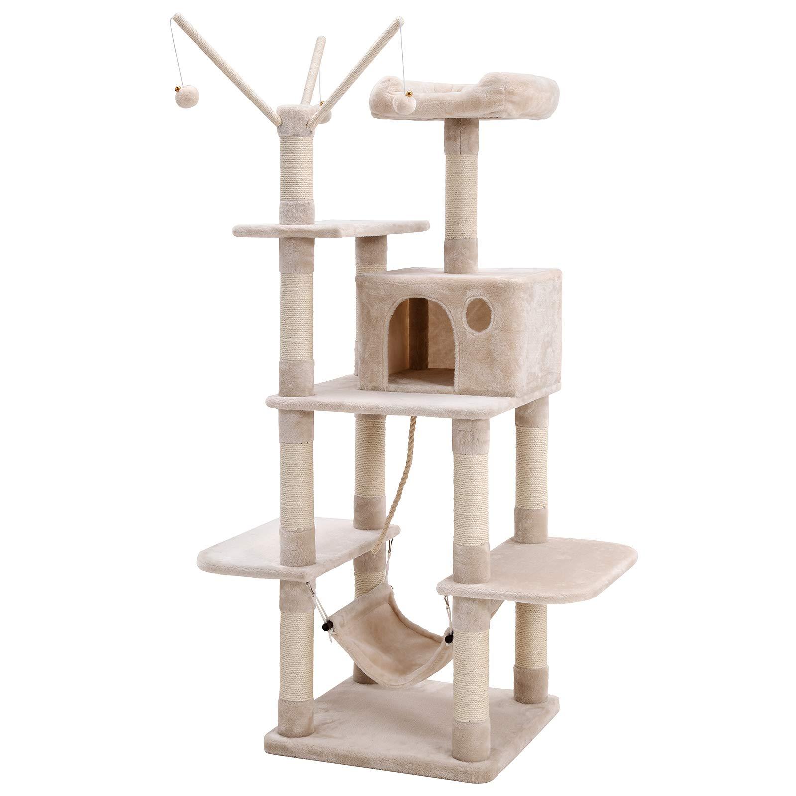 FEANDREA Árbol para Gatos, Rascador con Nidos, Hamaca, Plataformas y Bolas de Juego, 154 cm, Colores Opcionales, Beige PCT86M