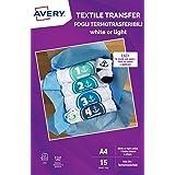 Avery UK MD1004.UK - Carta per trasferimento tessile per cotone leggero, stampanti laser, 1 trasferimento in tessuto per fogl