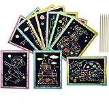 50 Hojas Scratch Art para niños, ANBET Dibujo Scratch Dibujar Arco iris Papel de Rascar con lápiz de madera para kindergarten