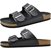 ONCAI Mens Slide Sandal Summer Beach Slippers Arizona Indoor and Outdoor Anti-skidding Flat Cork Sandals with Two…