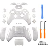 eXtremeRate® Matte Transparent Clear Controller Housing Shell Case Cover Full Set Faceplates Replacement Kits with Buttons for Microsoft Xbox One Controller with 3.5 mm Headset Jack