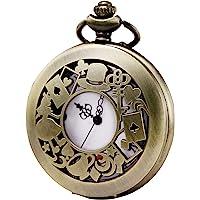 Morfong - orologio da taschino al quarzo, serie Alice nel paese delle meraviglie con custodia cava vintage, da uomo