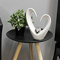 Cuore Decorativo Bella Scultura Amore Ceramica Bianco Altezza 25 Cm