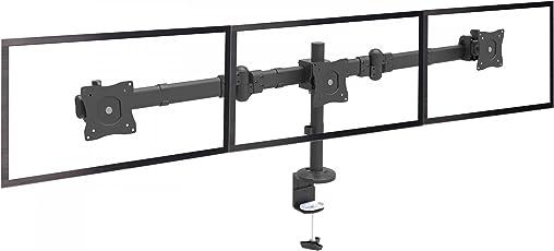 RICOO Monitor Tischhalterung für 3 Monitore Monitorhalterung TS6111 Computer Bildschirm Monitorständer Schwenkbar Neigbar Höhenverstellbar Bildschirmständer Tisch Ständer VESA 75x75 100x100 / Schwarz
