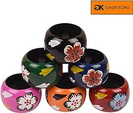 Gauri KOHLI : Hand Painted Wooden Napkin Rings (Set of 6)