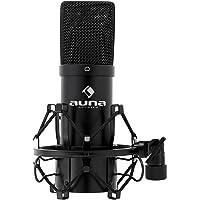 Auna MIC-900B–Microphone à condensateur USB pour utilisation en studio avec suspension, capsule de 16mm, 320Hz–18kHz noir