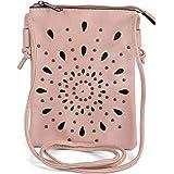 styleBREAKER Damen Mini Bag Umhängetasche mit Cutouts in Ethno Blumen Form und Nieten, Schultertasche, Handtasche, Tasche 020