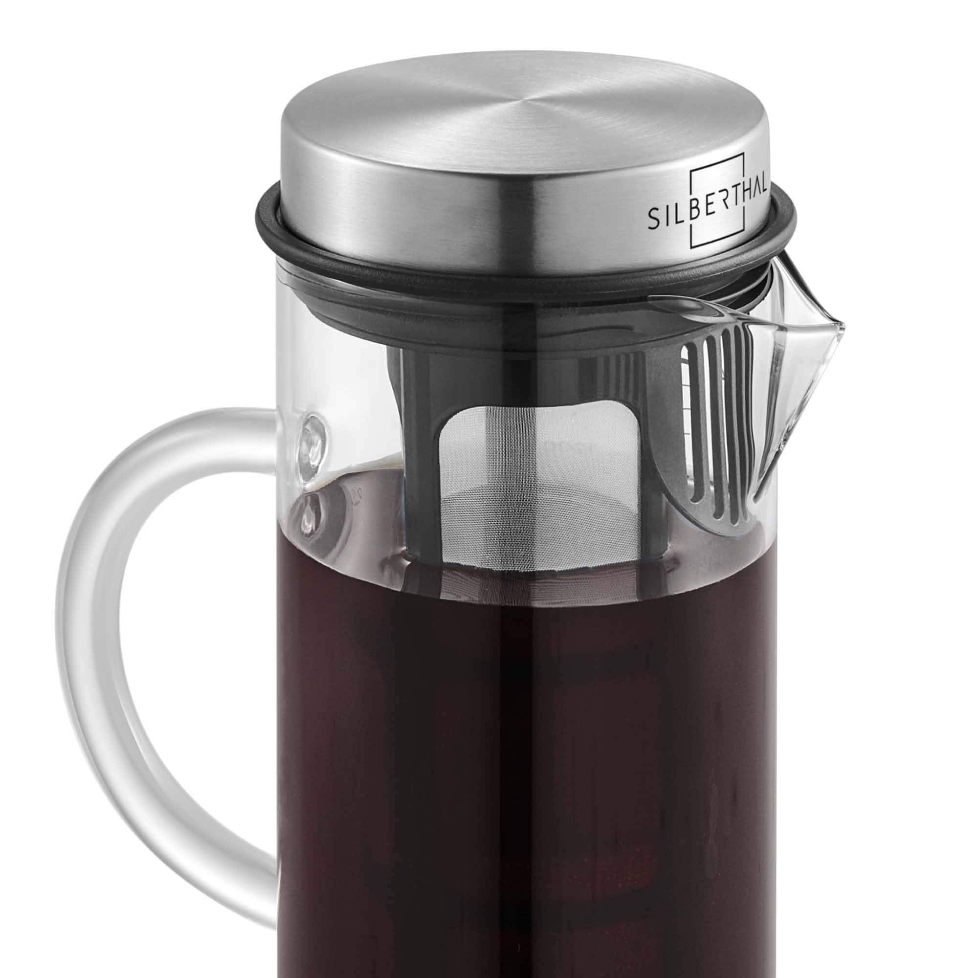 SILBERTHAL-Cold-Brew-Coffee-Maker-Glass-Stainless-Steel-Long-Insert-for-Iced-Coffee-Tea-13L