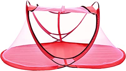 AmazingHind Foldable Baby Mosquito Net. Portable Natural Infant Mosquito Repellent. Organic Travel Tent House for Infants.(Suitable for 0-2 Years, Color: Pink Net)