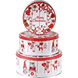 khevga Jeu de boîtes à gâteaux métalliques spécial Noël