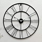 Vintage Clock Iron Wall Clock (55 cm, Black)