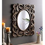 The Urban Store Wood Hand Crafted Oval Shape Vanity Wall Mirror Glass for Living Room, 24X20 Inches (Beige)