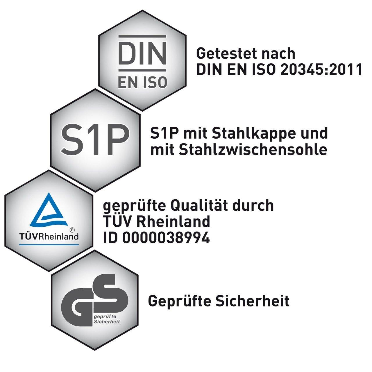 HSM Schuhmarketing WORK2DO Sportlicher Sicherheitsstiefel Berufsschuhe Arbeitsschuhe S1P, Grau/Grün