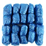 ForceSthrength 100 Pezzi/Set Copriscarpe in plastica USA e Getta per Ambienti Esterni Pioggia Impermeabile,Copriscarpe blu mo