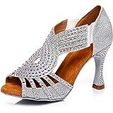HIPPOSEUS Scarpe da Ballo Latino da Donna con Cinturino Elastico Scarpe da Ballo per Salsa da Sala Modello D5