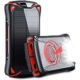 Aikove 10W Wireless Cargador Portátil, 30000mAh 18W Solar Energia Movil, Power Bank Móvil Portátil Batería Externa,QC 3.0 Paq