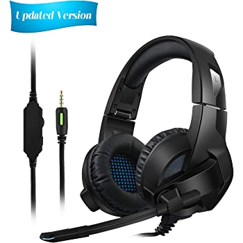 4c5b47767a4 Amicool [Updated Version] Gaming Headset for PS4/XBox One, Stereo Bass  Surround/Noise Reduction/Volume Control/Over-Ear Gaming Headphone with Mic  for Laptop ...