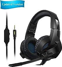 [aktualisierte Version]Gaming-Headset für PS4/XBox One,Amicool Stereo Bass Surround/Rauschunterdrückung/Lautstärkeregler/Over-Ear Gaming Kopfhörer mit Mikrofon für Laptop, PC, Mac, Computer und Smartphone