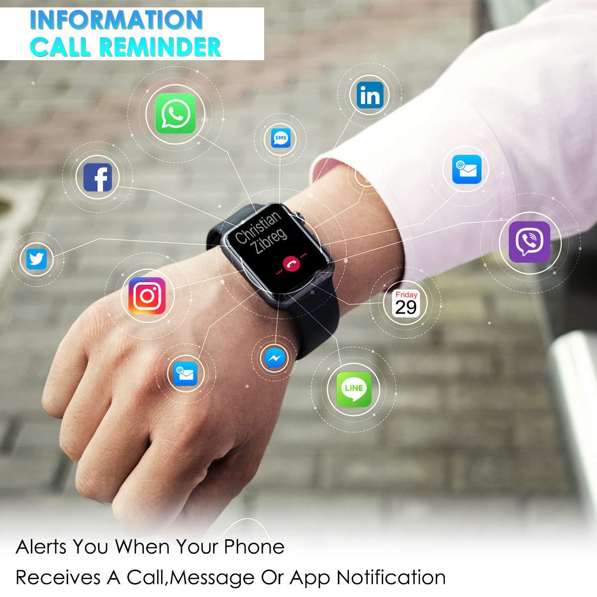 Pulsera de Actividad IP68 con Puls/ómetro LCD t/áctil Pulsera Inteligente Monitor de Calor/ías Notificaci/ón de Mensaje para iOS y Android CHEREEKI Pulsera Actividad