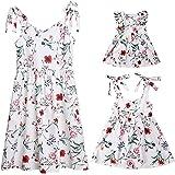 Loalirando Madre e Hija Vestidos de Verano Estampado Floral Vestidos Familiares Mangas Cortas Chica Vestido de Princesa/Vesti