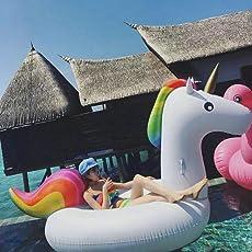 Jasonwell Gonfiabile Unicorno Giocattoli Piscina Galleggiante per Bambini Ragazze Adulti Estate Nuoto Gonfiabile Giocattolo per Festa in Piscina Mare a valvole Rapide Lettini e giochi gonfiabili Acqua Rafting Esterno Spiaggia Oceano Lago Fiume