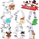 Faburo Lot de 7 Emporte-pièces de Noël en Acier Inoxydable Arbre de Noël Flocon de Neige et Autres Formes pour Décoration de