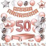 MMTX Palloncini Compleanno 50 Anni Oro Rosa Compleanno Decorazioni per Feste Donna Addobbi Compleanno Bomboniere 50 Anni Raga
