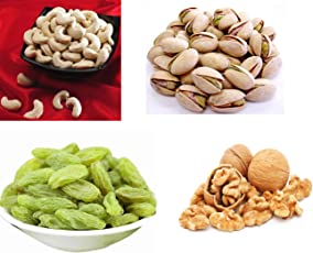 Ancy Cashews, Pistachios Walnuts Kernel kernels Kernel kishmish (kaju Pista akhrot Giri badam)400gm