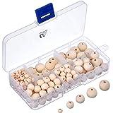 150 Piezas Set de Cuentas de Madera Redondas Naturales con Caja para Elaboración de Joyería de DIY, 5 Tamaños (6 mm/ 8 mm/ 10