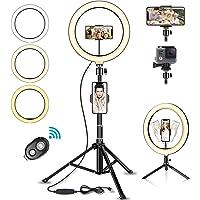 SYOSIN LED Ringlicht Stativ mit Fernbedienung, 10.2' Selfie Ringleuchte Doppel-Handyhalter mit…