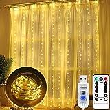 LED Lichterketten 300 LEDs, Bigzom LED Lichterketten Lichtervorhang 3m x 3m, USB Vorhanglichter Innenbeleuchtung mit 8 Modi,