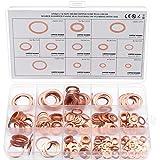electrapick 280 Piezas Arandelas planas Junta de cobre Arandelas de sellado de latón - 12 tamaños