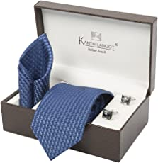 Kanthlangot Men's Jacquard Combo of Tie, Pocket Square and Cufflinks Set (Multicolour, Free Size)
