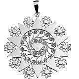 GR GIULIANO RICCITELLI Gioielli - Ciondolo Presentosa d'Abruzzo con Catenina Inclusa in Argento 925 Rodiato, Cuore Singolo, D