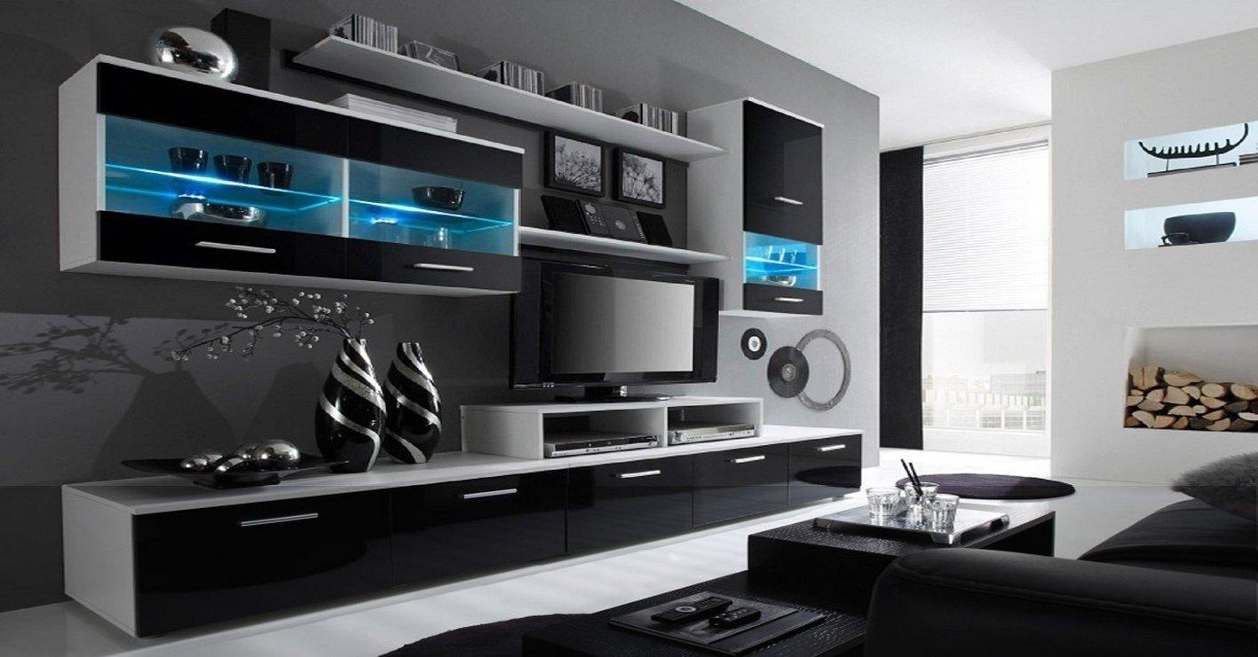 Home Innovation- Mobile Soggiorno - Parete da Soggiorno moderno con LED,  Bianco Mate e Nero Laccato, dimensioni: 250 x 194 x 42 cm di profondità.    ...