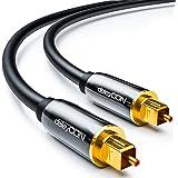 deleyCON 0,5m Câble Audio Digital Optique S/PDIF 2X Prises Toslink Câble Fibre Optique Prises Métalliques 5mm Flexible - Noir