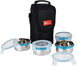 Solimo Stainless Steel Lunch Box Set, 4-Pieces (300 ml)