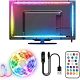 Tira LED TV, TOPYIYI 3M Tiras LED USB con Mando a Distancia, Múlticolores Cinta de Doble Cara 16 Colores y 21 Modos, 5050 RGB